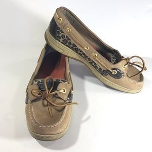 Sperry Top Sider Anglefish Leopard glitter gold